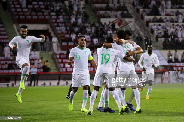 Mohammed AlFatil of Saudi Arabia celebrates after scoring a goal to make it 20 during the AFC Asian Cup Group E match between Saudi Arabia and North...