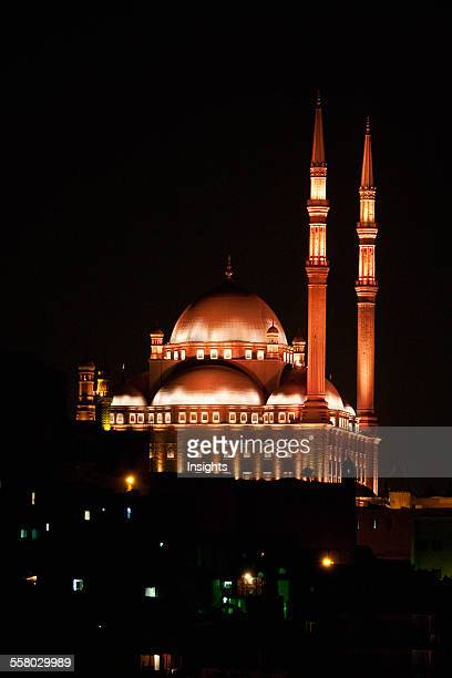 Mohammed Ali Mosque In The Citadel Of Cairo At Night Al Qahirah Egypt