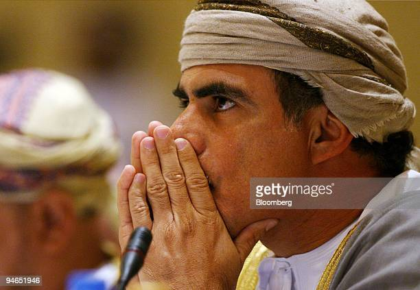 Mohammed AlRumhy Oman's minister of oil and gas listens to the opening speeches at the meeting of ministers from the Organization of Petroleum...