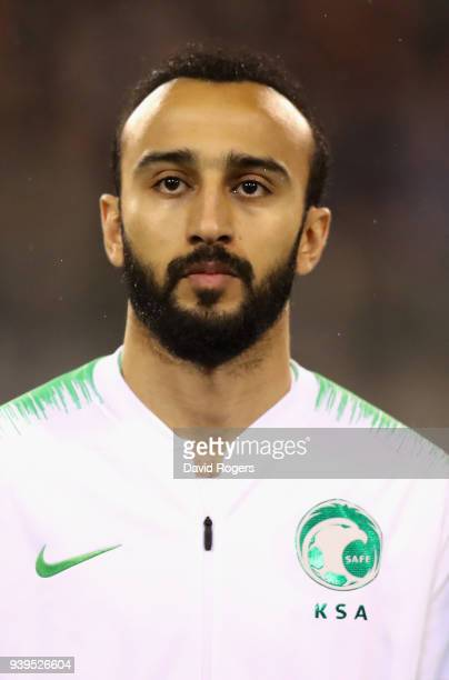 Mohammed Alsahlawi of Saudi Arabia looks on during the international friendly match between Belgium and Saudi Arabia at the King Baudouin Stadium on...