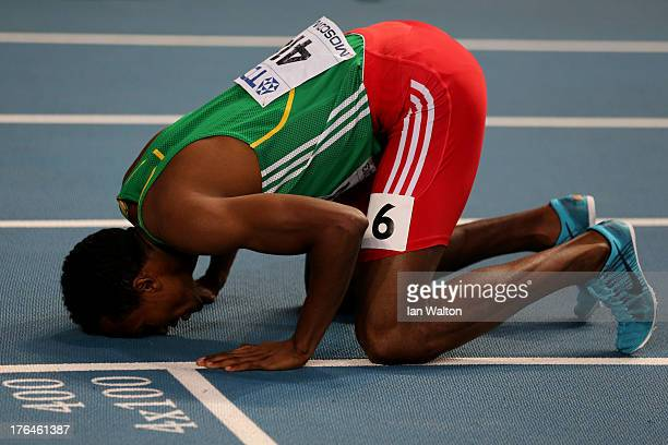 Mohammed Aman of Ethiopia celebrates winning gold in the Men's 800 metres final during Day Four of the 14th IAAF World Athletics Championships Moscow...