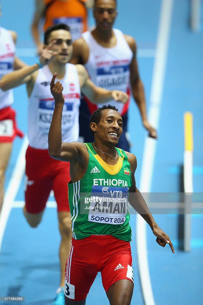 Mohammed Aman of Ethiopia celebrates winning the gold medal in the Men's 800m Final during day three of the IAAF World Indoor Championships at Ergo Arena on March 9, 2014 in Sopot, Poland.