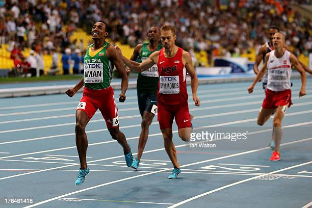 Mohammed Aman of Ethiopia crosses the line first to win gold ahead of Nick Symmonds of the United States in the Men's 800 metres final during Day...