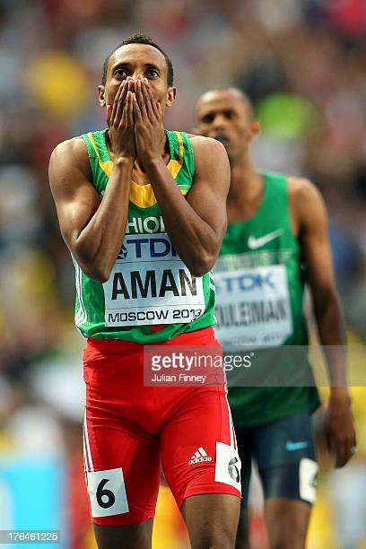 Mohammed Aman of Ethiopia wins gold the Men's 800 metres final during Day Four of the 14th IAAF World Athletics Championships Moscow 2013 at Luzhniki...