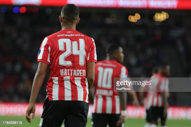 Mohammed Amine Ihattaren of PSV celebrates 10 he firsts scores for the Dutch team during the UEFA Europa League match between PSV v Apollon Limassol...