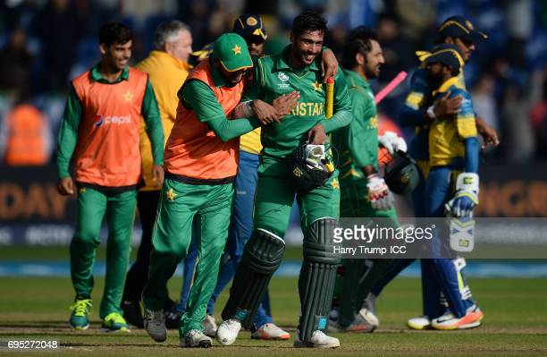 Mohammed Amir of Pakistan celebrates victory during the ICC Champions Trophy match between Sri Lanka and Pakistan at SWALEC Stadium on June 12 2017...