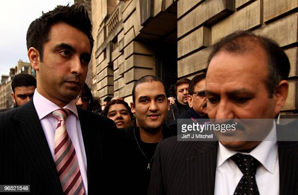 Mohammed Atif Siddique walks free from Court of Criminal appeal with his father Atif and his lawyer Amaar Anwar on February 9, 2010 in Edinburgh,...