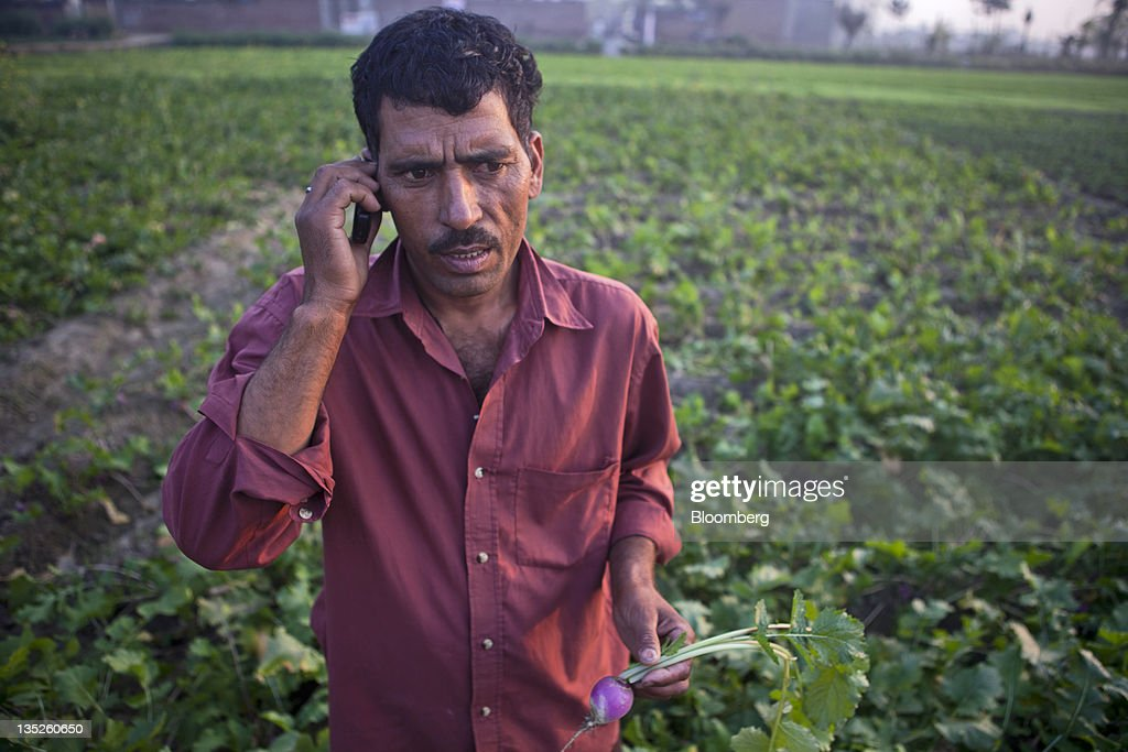 Mohammed Babu who supplies produce to Bharti Walmart Pvt talks on his mobile phone at his farm in Malerkotla Punjab India on Monday Dec 5 2011...
