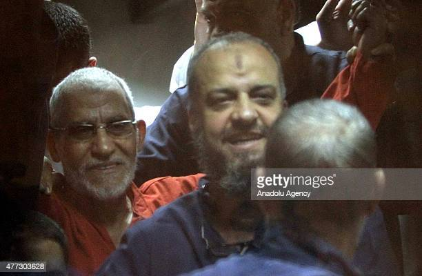 Mohammed Badie , Supreme Guide of the Muslim Brotherhood seen inside a cage in the courtroom where he stood trial during espionage case in Cairo,...