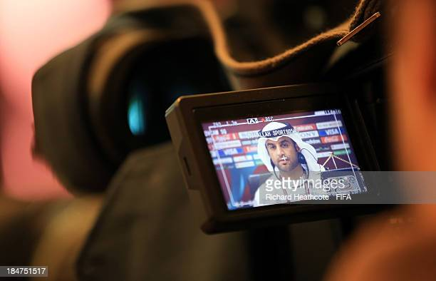 E Mohammed Bin Bdoua Tournament Director of the FIFA U17 World Cup is seen through a TV camera viewfinder as he speaks to the media during the...
