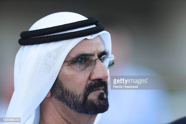 Mohammed bin Rashid Al Maktoum looks on during Super Saturday at Meydan Racecourse on March 9 2013 in Dubai United Arab Emirates