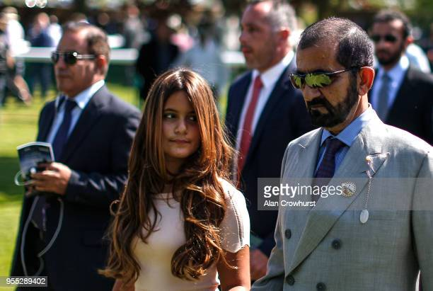 Mohammed bin Rashid Al Maktoum with his daughter Sheikha Al Jalila at Newmarket Racecourse on May 6, 2018 in Newmarket, United Kingdom.