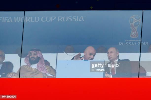 Mohammed bin Salman of Saudi Arabia FIFA President Gianni Infantino and President Wladimir Putin of Russia look on during the 2018 FIFA World Cup...