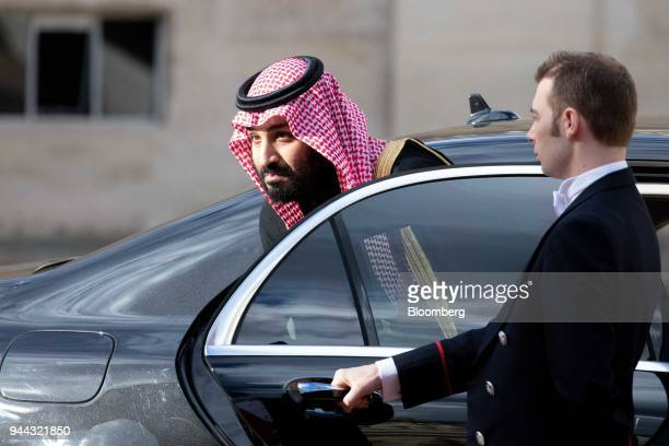 Mohammed bin Salman Saudi Arabia's crown prince arrives at the Elysee palace before a meeting with Emmanuel Macron France's president in Paris France...