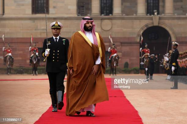 Mohammed Bin Salman, Saudi Arabia's crown prince, arrives for a ceremonial reception at the presidential palace in New Delhi, India, on Wednesday,...