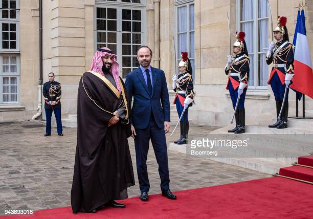 Mohammed bin Salman Saudi Arabia's crown prince left and Edouard Philippe France's prime minister pose for photographers ahead of their meeting in...