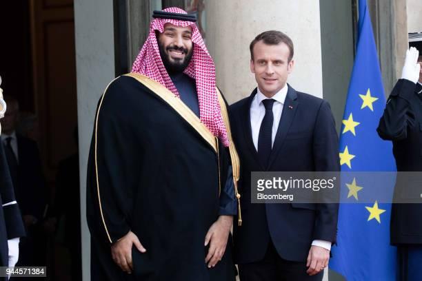 Mohammed bin Salman Saudi Arabia's crown prince left and Emmanuel Macron France's president pose for photographers ahead of their meeting in Paris...