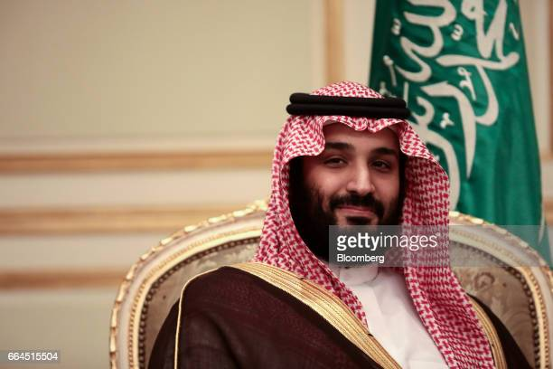 Mohammed bin Salman Saudi Arabia's deputy crown prince looks on during a bilateral meeting with UK Prime Minister Theresa May at An Nasiriyah Palace...