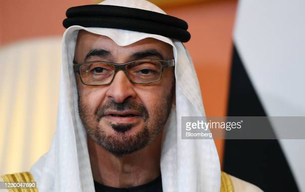Mohammed bin Zayed, Abu Dhabi's crown prince, speaks during his bi-lateral meeting with Boris Johnson, U.K. Prime minister, inside number 10 Downing...