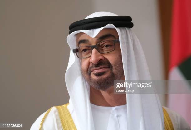 Mohammed bin Zayed Al Nahyan, the Crown Prince of Abu Dhabi, arrives to meet with German President Frank-Walter Steinmeier at Schloss Bellevue on...