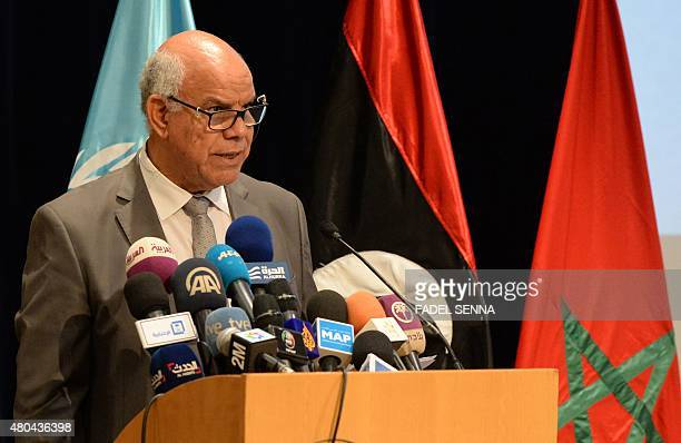 Mohammed Chouaib head of delegation from the government in the eastern city of Tobruk gives a speech during the UNbrokered talks in Skhirat near the...