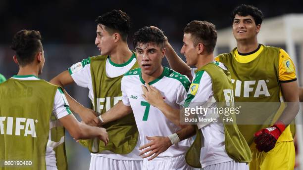Mohammed Dawood of Iraq celebrates a scored goal during the FIFA U17 World Cup India 2017 group F match between Iraq and Chile at Vivekananda Yuba...
