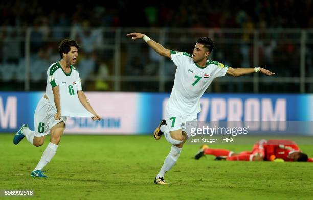 Mohammed Dawood of Iraq celebrates his goal during the FIFA U17 World Cup India 2017 group F match between Iraq and Mexico at Vivekananda Yuba...