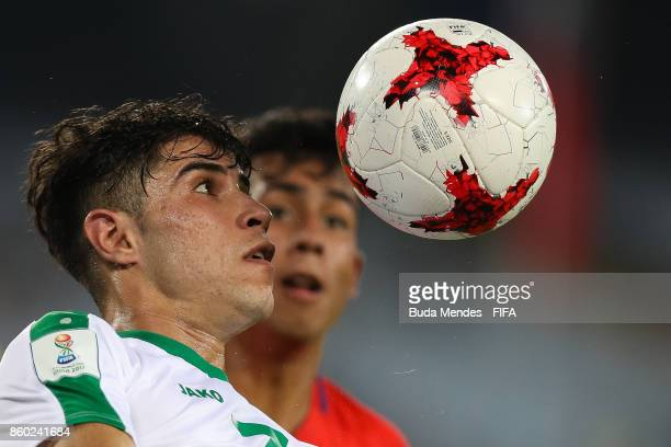 Mohammed Dawood of Iraq controls the ball during the FIFA U17 World Cup India 2017 group F match between Iraq and Chile at Vivekananda Yuba Bharati...