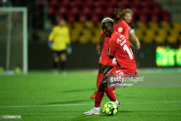 Mohammed Diomande of FC Nordsjalland in action during the Danish 3F Superliga match between FC Nordsjalland and FC Midtjylland at Right to Dream Park...