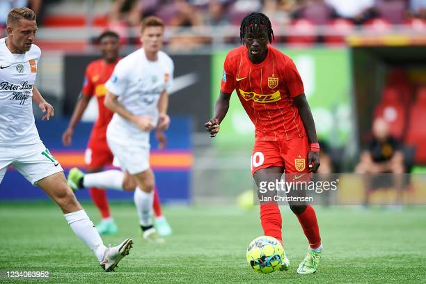 Mohammed Diomande of FC Nordsjalland in action during the Danish 3F Superliga match between FC Nordsjalland and Viborg FF at Right to Dream Park on...