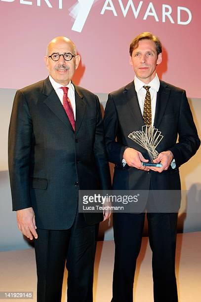 Mohammed el Baradei and Konrad Schuller attend the 'Liberty Award 2012' at Hotel Hyatt on March 26, 2012 in Berlin, Germany.