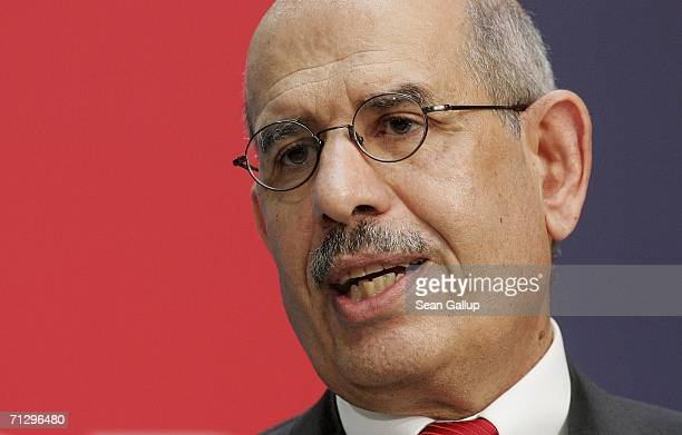 Mohammed El Baradei, head of the International Atomic Energy Agency, speaks at a conference on nuclear disarmament at SPD headquarters June 26, 2006...