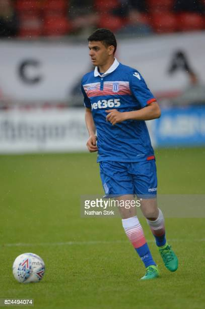 Mohammed El Ouaricchi of Stoke City in action during the preseason friendly match between Crewe Alexandra and Stoke City at The Alexandra Stadium on...