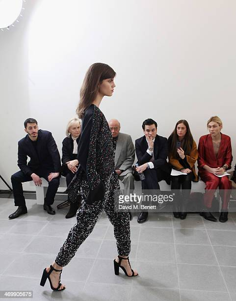 Mohammed Esreb Heini AlFayed Mohamed AlFayed Ben Chan Emma Newman and Kyle De'volle front row for ISSA Autumn/Winter 2014 Show at The Serpentine...
