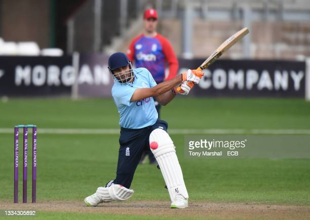 Mohammed Farooq of England bats during the England Disability T20 match at New Road on August 08, 2021 in Worcester, England.