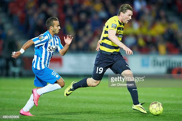 Mohammed Fellah of Esbjerg fB and Pal Alexander Kirkevold of Hobro IK compete for the ball during the Danish Alka Superliga match between Hobro IK...