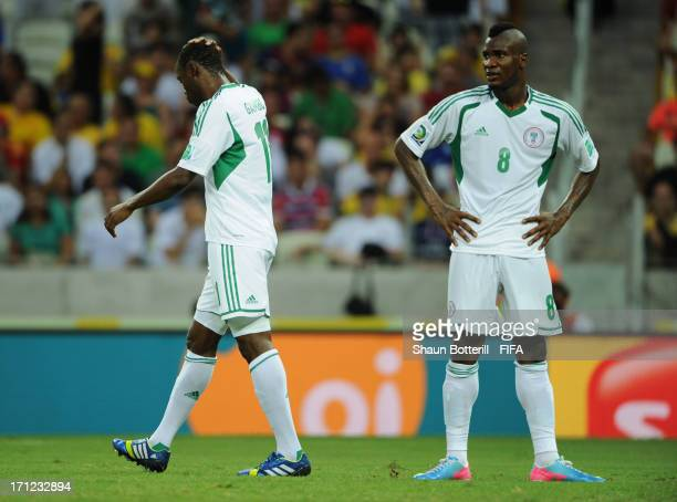 Mohammed Gambo and Brown Ideye of Nigeria react after a missed chance during the FIFA Confederations Cup Brazil 2013 Group B match between Nigeria...