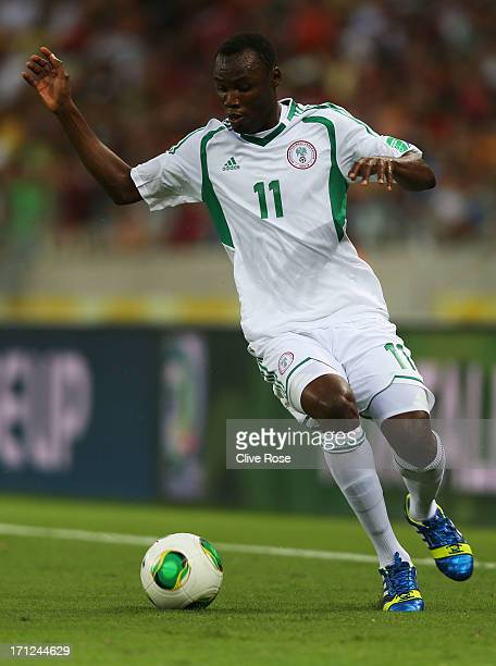Mohammed Gambo of Nigeria in action during the FIFA Confederations Cup Brazil 2013 Group B match between Nigeria and Spain at Castelao on June 23...
