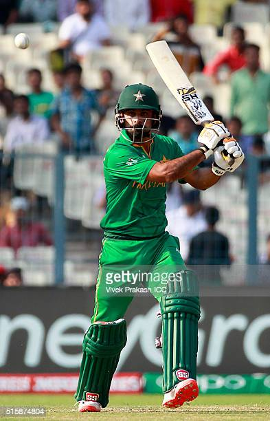 Mohammed Hafeez of Pakistan hits a shot during the ICC World Twenty20 India 2016 match between Pakistan and Bangladesh at Eden Gardens on March 16...