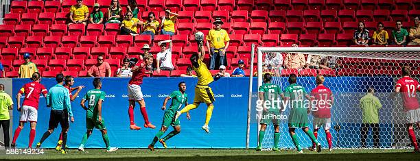 Mohammed Hameed of Iraq catches the ball during the men's group A football match between Iraq and Denmark at the 2016 Olympic Games in Brasilia...