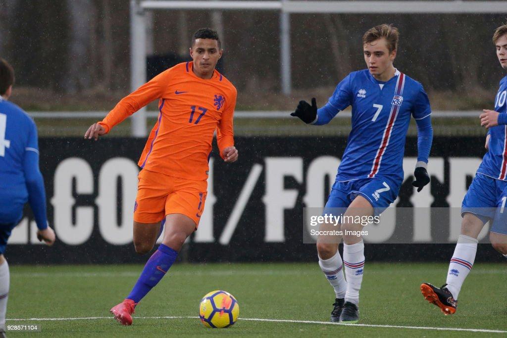Mohammed Ihattaren of Holland U17, Johann Arni Gunnarsson of Iceland