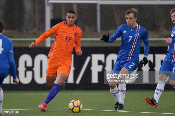 Mohammed Ihattaren of Holland U17 Johann Arni Gunnarsson of Iceland U17 during the match between Holland U17 v Iceland U17 at the Sportpark De...