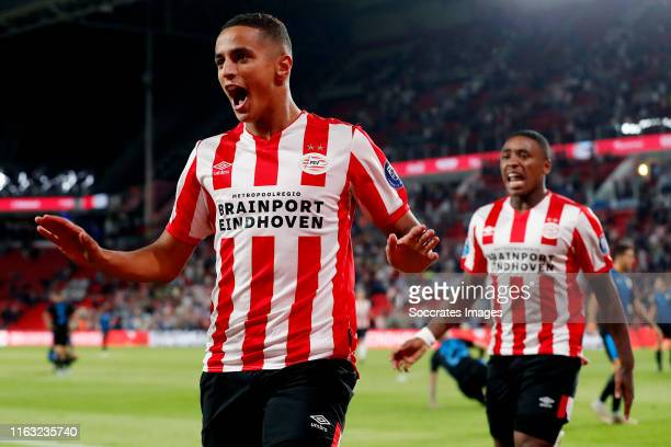 Mohammed Ihattaren of PSV celebrates 10 during the UEFA Europa League match between PSV v Apollon Limassol at the Philips Stadium on August 22 2019...