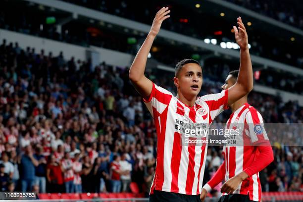 Mohammed Ihattaren of PSV celebrates 10 with Cody Gakpo of PSV during the UEFA Europa League match between PSV v Apollon Limassol at the Philips...