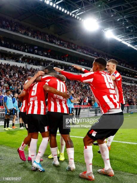 Mohammed Ihattaren of PSV celebrates 10 with Donyell Malen of PSV Steven Bergwijn of PSV Cody Gakpo of PSV Olivier Boscagli of PSV during the UEFA...