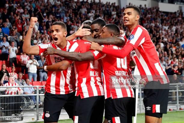 Mohammed Ihattaren of PSV celebrates 10 with Donyell Malen of PSV Steven Bergwijn of PSV Cody Gakpo of PSV Olivier Boscagli of PSV Pablo Rosario of...