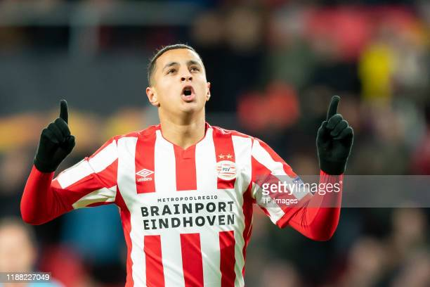 Mohammed Ihattaren of PSV Eindhoven celebrates after scoring his team's first goal during the UEFA Europa League group D match between PSV Eindhoven...