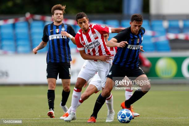 Mohammed Ihattaren of PSV U19 Gabriele Zappa of Internazionale U19 during the match between PSV U19 v Internazionale U19 at the De Herdgang on...