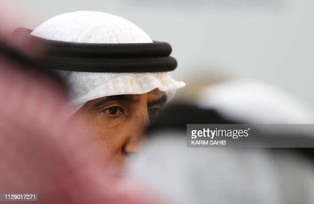 Mohammed Khalfan alRomaithi chairman of the United Aarab Emirates' General Authority for Sports speaks to other officials during a press conference...