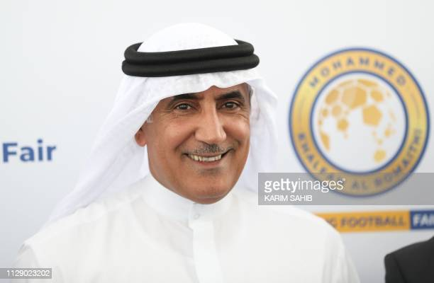 Mohammed Khalfan al-Romaithi, chairman of the United Aarab Emirates' General Authority for Sports, smiles during a press conference in Abu Dhabi in...